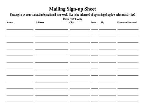 Blank Sign In Sheet Template by Blank Sign Up Sheet Printable Loving Printable