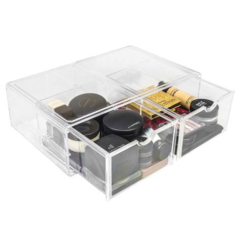 sorbus makeup storage set large display stackable and detachable drawers storage with drawer