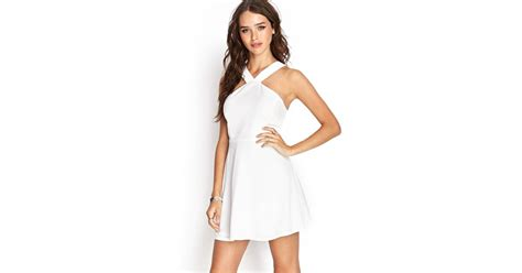 Forever 21 Halter Dress A La Alaina From American Idol by Forever 21 Halter Skater Dress In White Lyst