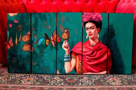 cuadros frida kahlo set mural de cuadros modernos frida kahlo con mariposas
