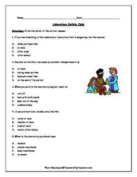 Lab Safety Worksheet Answers by Lab Safety Science Safety Quiz Choice Safety