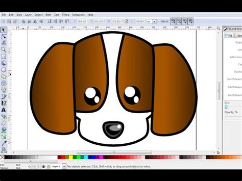 inkscape tutorial cartoon inkscape drawing tutorial how to draw cute dog using
