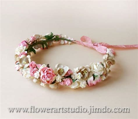 flower wedding wreath pink floral crown rustic wedding wreath bridal flower