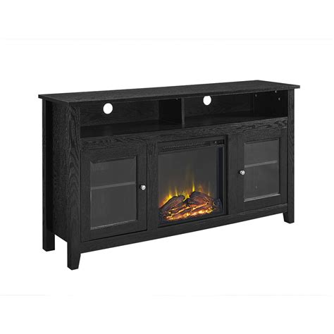 walker edison 58 quot wood highboy fireplace tv stand black
