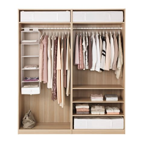 Fitted Wardrobe Planner by Pax Wardrobe White Stained Oak Effect Ilseng White Stained