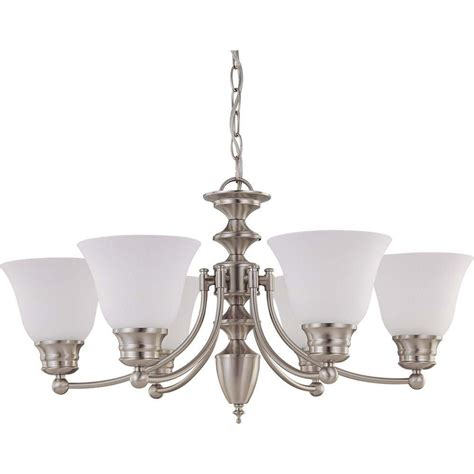White Chandelier With Shades Glomar 6 Light Brushed Nickel Chandelier With Frosted White Glass Shade Hd 3255 The Home Depot