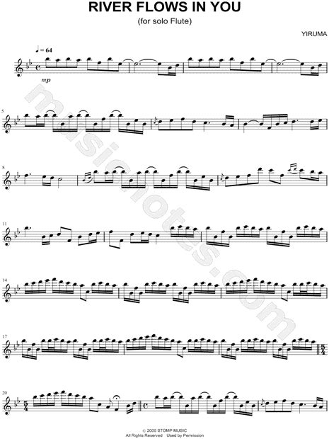 "Yiruma ""River Flows In You"" Sheet Music (Flute Solo) in Bb"
