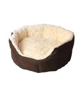 dog bed house of paws cream faux fur suede oval snuggle dog bed