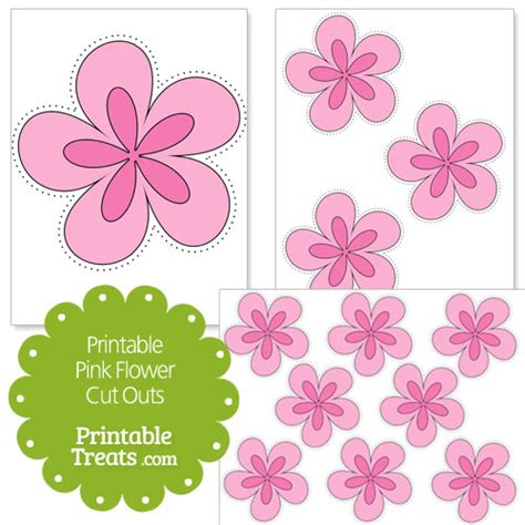 Printable Pink Flowers | printable pink flower cut outs printable treats com