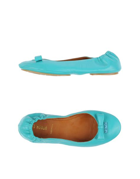 turquoise shoes flats fendi ballet flats in blue turquoise lyst