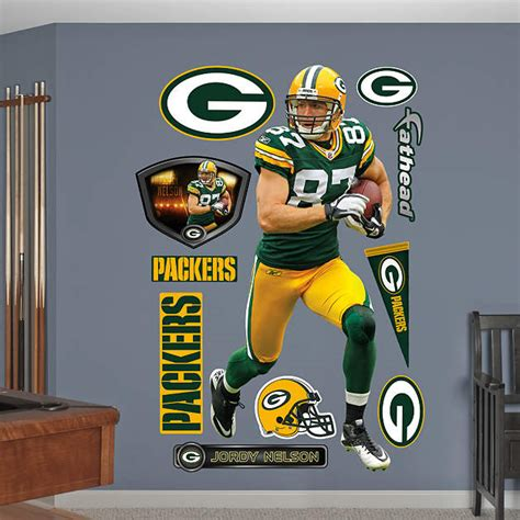 jordy nelson real name life size jordy nelson wall decal shop fathead 174 for