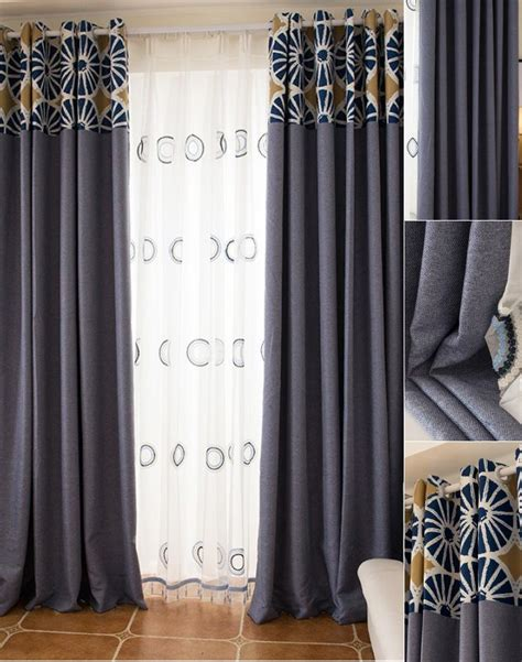 patterned linen curtains blue patterned jacquard linen cotton blend contemporary
