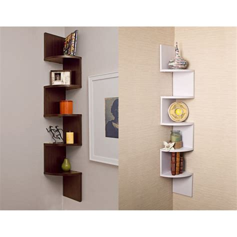 Corner Wall Mounted Shelf by Laminated Veneer Corner Wall Mount Shelf