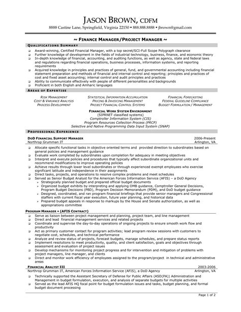 project manager resume format sle project management resumes cover letter