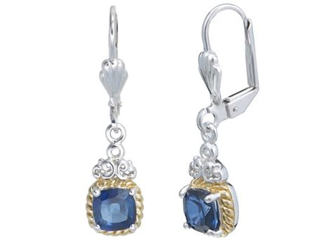 Blue Sapphire 24 00ct 2 00ct yellow gold plated created blue sapphire earrings