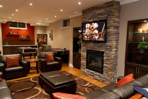 best family rooms cozy basement ideas basement family room with brick