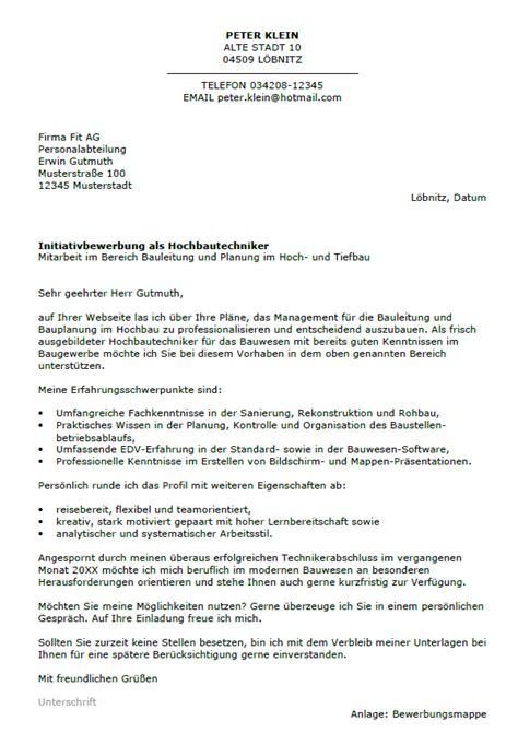 Initiativbewerbung Anschreiben Berufseinsteiger Bewerbung Hochbautechniker Berufseinsteiger Sofort
