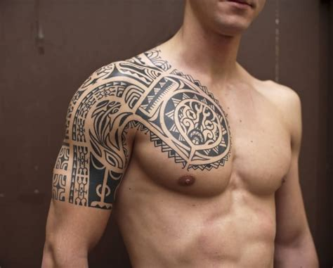 tribal tattoos chest to shoulder tattoos for on shoulder and chest www pixshark