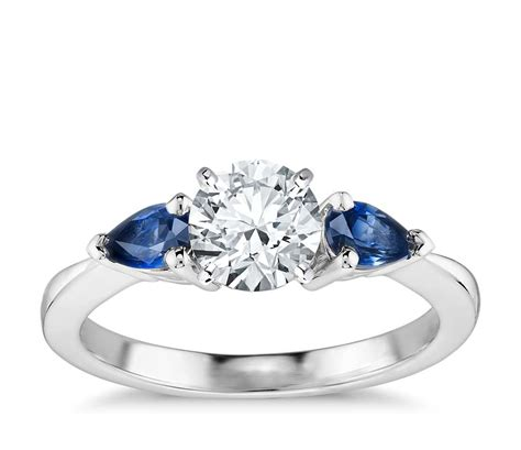 Wedding Rings With Sapphires And Diamonds by Classic Pear Shaped Sapphire Engagement Ring In 18k White