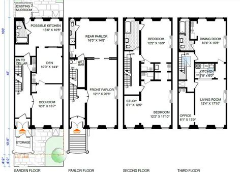 brownstone floor plan 8 best brownstone floorplans images on pinterest 3 4