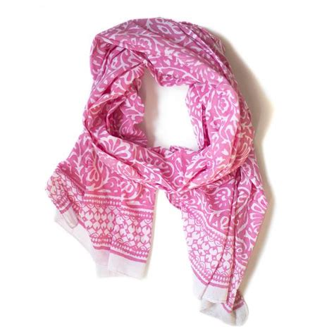 pink leaf print cotton scarf from the source