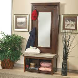 Entryway Mirror With Storage Hall Tree With Mirror Entryway Coat Rack Seat Cushion