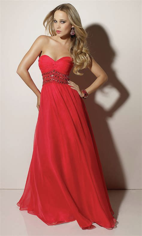 strapless red flowing gowns for trendy girls designers