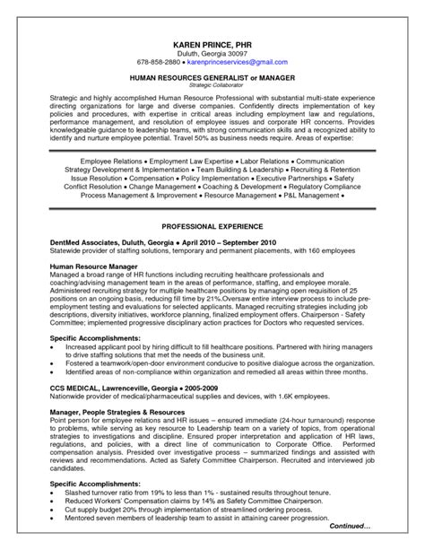 sle hr generalist resume free resumes tips