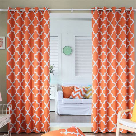 Geometric Orange Curtains Orange Polyester Printed Geometric Pattern Bedroom Curtains