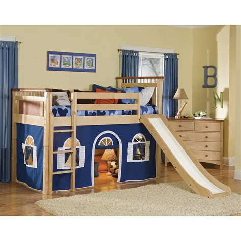 bunk bed with slide and tent loft bed for kids boys with tent playing space cover and