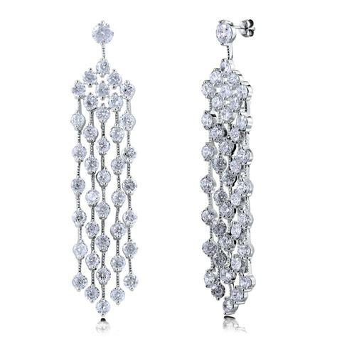 Berricle Silver Tone Cz Statement Dangle Chandelier Dangle Chandelier Earrings