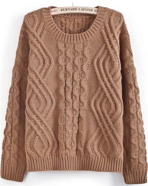 knit sweater sleeve pattern khaki long sleeve geo pattern cable knit sweater shein