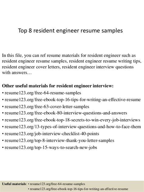 Resident Engineer Sle Resume by Top 8 Resident Engineer Resume Sles