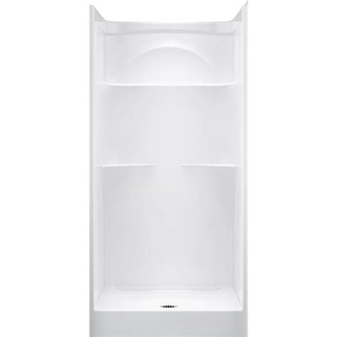 one piece acrylic bathtub shower shop delta white acrylic one piece shower common 36 in x