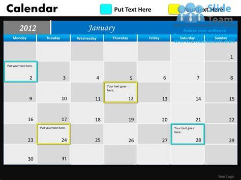 ppt calendar template blue calendar 2012 powerpoint presentation slides db ppt