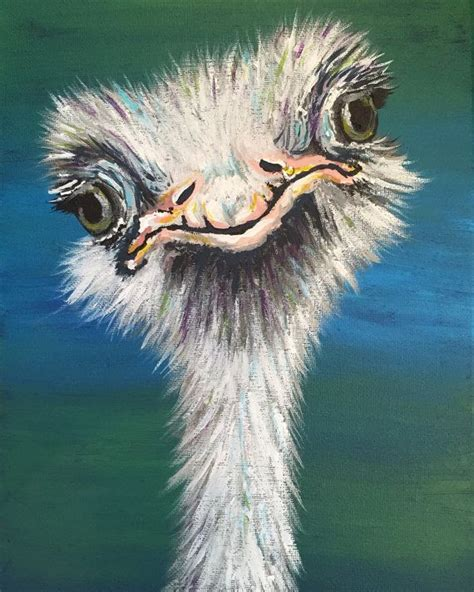 Curious Ostrich Painting Hand Painted Wall Art Colorful Animal Painting Unique Animals Funky Animal Painting For