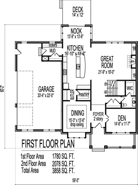 House Design Drawings Open Floor Plan 4 Bedroom 2 Story 2 Story House Plans Open Below