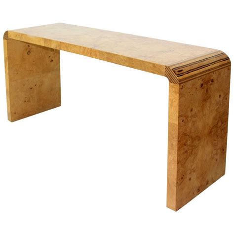 burl wood mid century modern console table by henredon for
