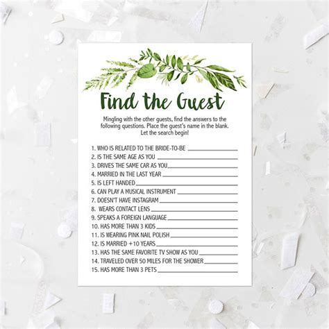 free printable name wedding related items foliage find the guest shower printable greenery