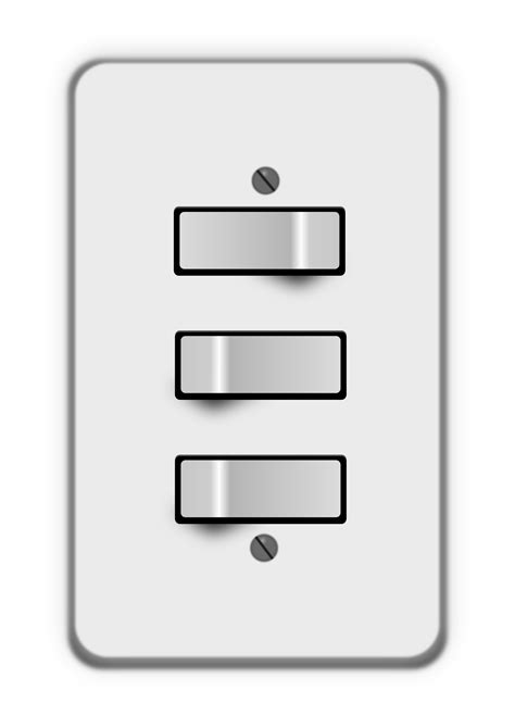 clipart light switch 3 switches one