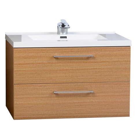 33 5 Quot Wall Mount Contemporary Bathroom Vanity Set Light Teak Bathroom Vanity