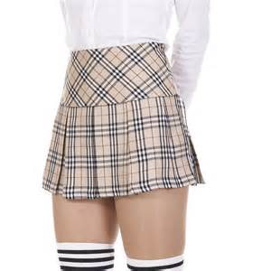 beige tartan check plaid pleated mini skirt with shining