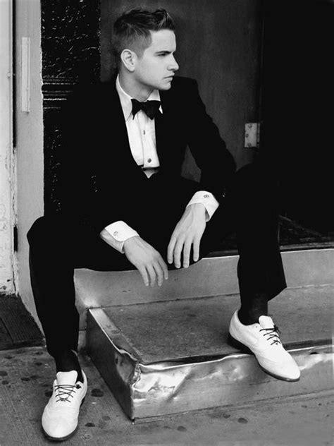 black tux white shoe and black shoe laces cool hi