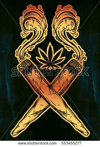 two crossed smoking weed joints spliffs stock vector