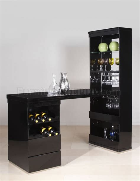 black bar top glossy black finish modern bar unit w counter top wine rack