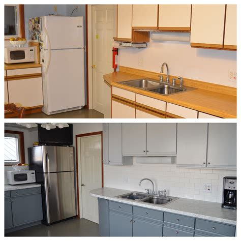 Before And After Melamine Kitchen Cabinets Painted Laminate Cupboards My Makeovers