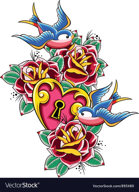 Wall Stickers Birds style tattoo swallow rose heart vector by paul june