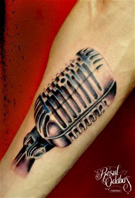 microphone realistic tattoo metal microphone realistic tattoo by resul odabaş best
