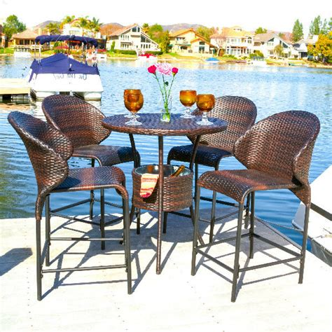 3 bar height patio dining sets to enjoy outdoor bar patio dining set 5 piece wicker bar height furniture porch