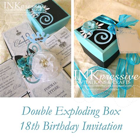 exploding box invitation template teal and black exploding box 18th birthday inkpressive